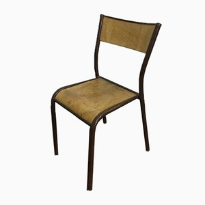 Original French Brown School Chair by Gaston Cavaillon for Mullca, 1960s