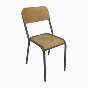 Original French Grey School Chair, 1960s
