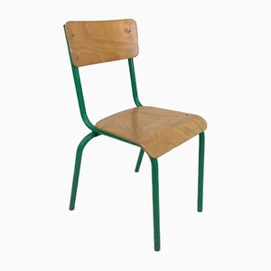 Vintage French Green Stacking School Chair, 1960s