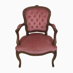 Louis XV Style French Red Armchair, 1940s