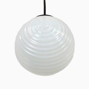 Czech Opaline Glass Ripple Globe Pendant Lamp, 1950s