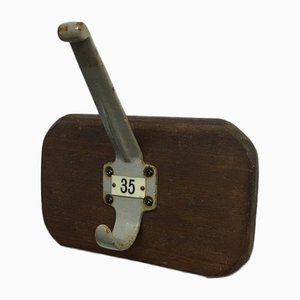 Original Grey School Coat Hook, 1950s