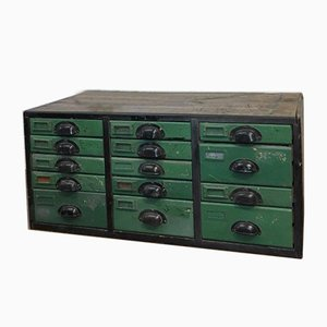 Spanish Green Wooden Factory Drawers, 1950s