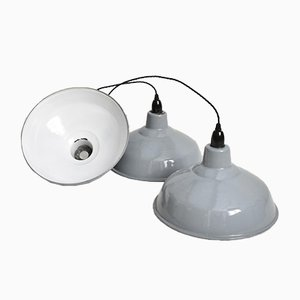 Industrial Gray Pendant Lamp Shade by Benjamin Crysteel, 1950s