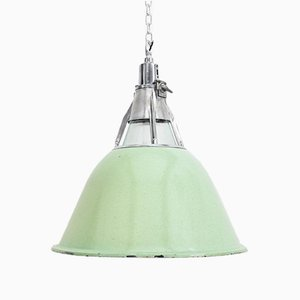 Large Industrial Soviet Green Pendant Lamp, 1950s