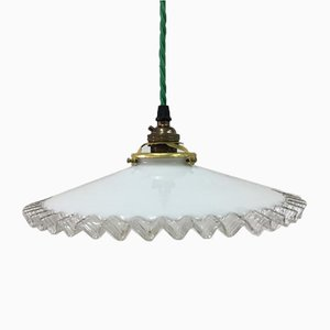 Vintage French Glass Frill Pendant Lamp
