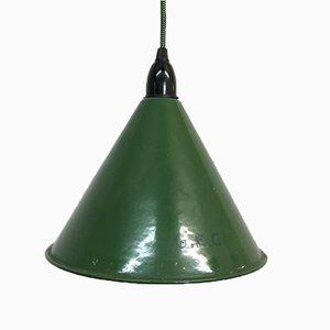Green GEC Enamel Ceiling Lamp, 1930s