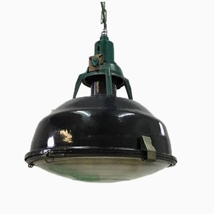 Vintage Black Soviet Factory Pendant Lamp