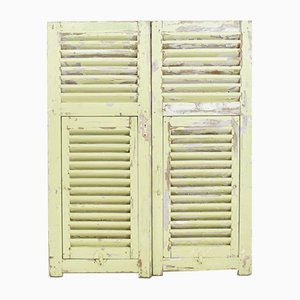 Vintage French Pale Green Yellow Shutters, 1950s