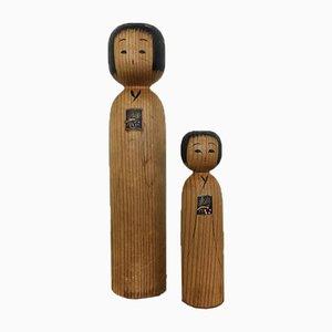 Japanese Kokeshi Dolls, 1950s, Set of 2