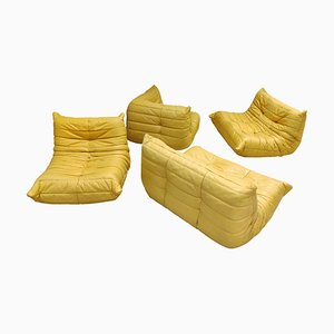 Modular Leather Living Room Set by Michel Ducaroy for Ligne Roset, 1970s, Set of 4