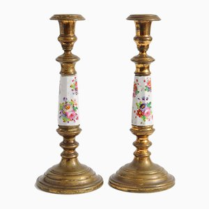 Antique Brass & Porcelain Candleholders, Set of 2