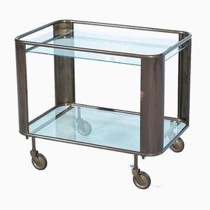 Brutalist Copper & Glass Bar Cart, 1950s