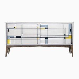 Modernes handbemaltes Mid-Century Sideboard aus Nussholz, 1960er