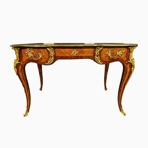 Antique Louis XV Walnut, Rosewood & Gilt Bronze Desk
