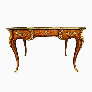 Antique Louis XV Walnut, Rosewood & Gilt Bronze Desk