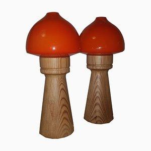 Lampade da tavolo in vetro e pino di Aneta, anni '60, set di 2