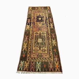 Großer Türkischer Vintage Kelim-Teppich aus Roter Wolle