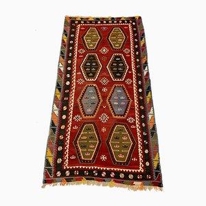 Grand Tapis Kilim Vintage en Laine Rouge et Noire, Turquie