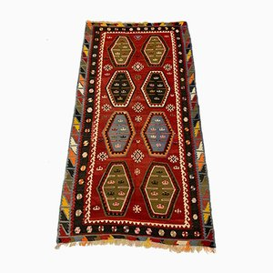 Large Vintage Turkish Red & Black Wool Kilim Rug