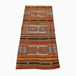 Großer türkischer Vintage Kelim-Teppich in Rot, Orange & Schwarz aus Wolle