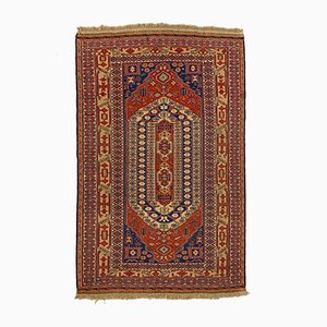 Large Vintage Afghan Red, Blue & Beige Soumak Kilim Rug