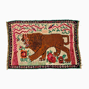 Vintage Turkish Red & Beige Lion Kilim Rug
