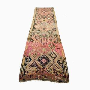 Grand Tapis Kilim Vintage en Laine Rose et Noire, Turquie