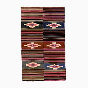 Large Vintage Turkish Purple, Pink & Black Wool Kilim Rug
