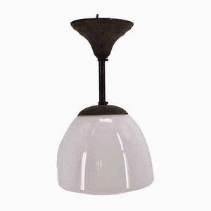 Französische Art Deco Deckenlampe aus Messing & Opalglas, 1930er