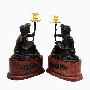 Antique Napoleon III French Bronze Candleholders, Set of 2