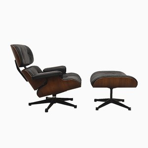 Lounge Chair & Ottoman by Charles & Ray Eames for Herman Miller, 1970s, Set of 2