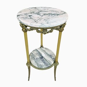 Antique Spanish Bronze, Gilt Brass & Marble Side Table
