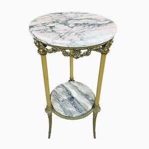 Antique Spanish Bronze, Gilt Brass & Marble Side Table
