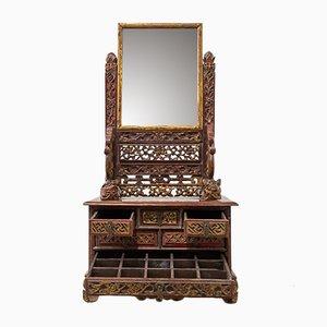 Antiker chinesischer Schmuckkasten mit Spiegel