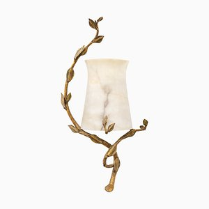 Gold Bronze & Alabaster Wall Light, 1950s