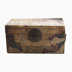 Bemalte Chinesische Velin Schmuck Aufbewahrungsbox, 1920er