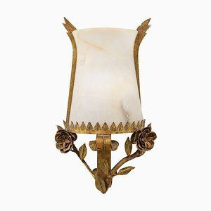 Mid-Century Wandlampe aus Vergoldeter Bronze & Alabaster