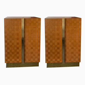 Italian Wood & Brass Cabinets from Giorgetti, 1980s, Set of 2