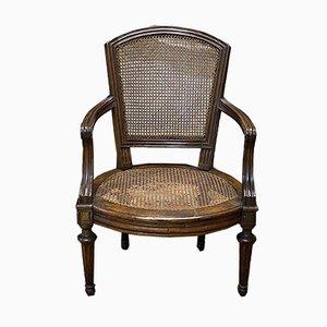 Antiker Louis XVI Nussholz Armlehnstuhl