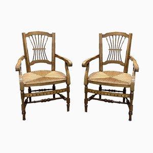 Antike Landhaus Sessel aus Kirschholz & Stroh, 2er Set