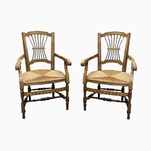 Antique Cherry & Straw Country Armchairs, Set of 2