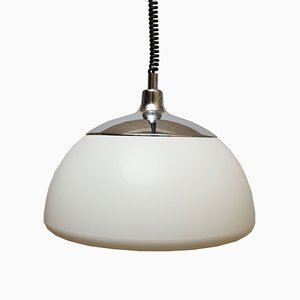 Large White Plastic Ceiling Lamp, 1970s