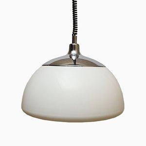 Large White Plastic Ceiling Lamp, 1970s