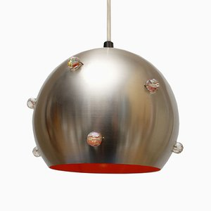 Space Age Orange Aluminum Ceiling Lamp, 1960s
