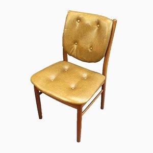 Scandinavian Teak & Leatherette Dining Chairs, 1970s, Set of 4