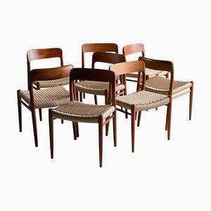 Danish Teak Model 75 Dining Chairs by Niels Otto Møller for J.L. Møllers, 1970s, Set of 8