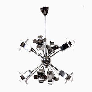 Space Age Sputnik Chrome Ceiling Lamp, 1970s