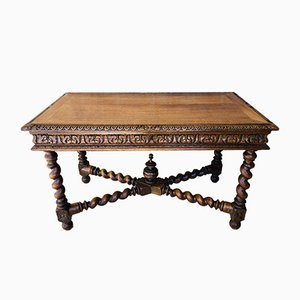Antique Walnut & Wrought Iron Desk