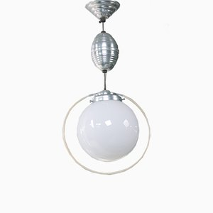 Bauhaus Opal Glass Train Pendant Lamp, 1930s